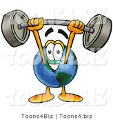 Vector Illustration of a Cartoon Globe Mascot Holding a Heavy Barbell Above His Head by Toons4Biz