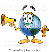 Vector Illustration of a Cartoon Globe Mascot Holding a Megaphone by Toons4Biz