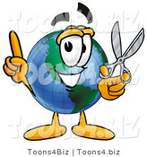 Vector Illustration of a Cartoon Globe Mascot Holding a Pair of Scissors by Toons4Biz