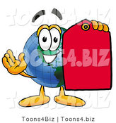 Vector Illustration of a Cartoon Globe Mascot Holding a Red Sales Price Tag by Toons4Biz