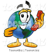 Vector Illustration of a Cartoon Globe Mascot Holding a Telephone by Toons4Biz
