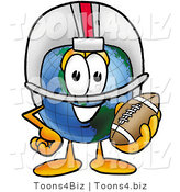 Vector Illustration of a Cartoon Globe Mascot in a Helmet, Holding a Football by Toons4Biz