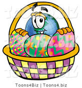 Vector Illustration of a Cartoon Globe Mascot in an Easter Basket Full of Decorated Easter Eggs by Toons4Biz