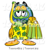 Vector Illustration of a Cartoon Globe Mascot in Green and Yellow Snorkel Gear by Toons4Biz