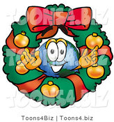 Vector Illustration of a Cartoon Globe Mascot in the Center of a Christmas Wreath by Toons4Biz