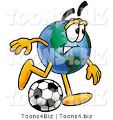 Vector Illustration of a Cartoon Globe Mascot Kicking a Soccer Ball by Toons4Biz