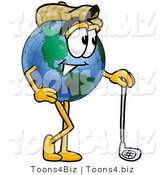 Vector Illustration of a Cartoon Globe Mascot Leaning on a Golf Club While Golfing by Toons4Biz