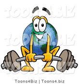 Vector Illustration of a Cartoon Globe Mascot Lifting a Heavy Barbell by Toons4Biz