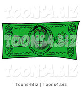 Vector Illustration of a Cartoon Globe Mascot on a Dollar Bill by Toons4Biz