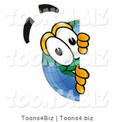 Vector Illustration of a Cartoon Globe Mascot Peeking Around a Corner by Toons4Biz
