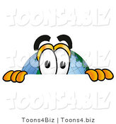 Vector Illustration of a Cartoon Globe Mascot Peeking over a Surface by Toons4Biz