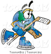 Vector Illustration of a Cartoon Globe Mascot Playing Ice Hockey by Toons4Biz