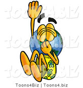 Vector Illustration of a Cartoon Globe Mascot Plugging His Nose While Jumping into Water by Toons4Biz