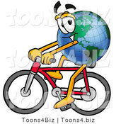 Vector Illustration of a Cartoon Globe Mascot Riding a Bicycle by Toons4Biz