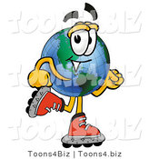 Vector Illustration of a Cartoon Globe Mascot Roller Blading on Inline Skates by Toons4Biz