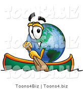 Vector Illustration of a Cartoon Globe Mascot Rowing a Boat by Toons4Biz