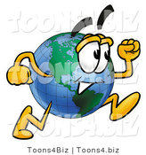 Vector Illustration of a Cartoon Globe Mascot Running by Toons4Biz