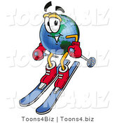 Vector Illustration of a Cartoon Globe Mascot Skiing Downhill by Toons4Biz