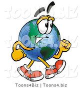 Vector Illustration of a Cartoon Globe Mascot Speed Walking by Toons4Biz