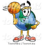 Vector Illustration of a Cartoon Globe Mascot Spinning a Basketball on His Finger by Toons4Biz