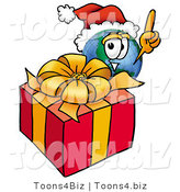 Vector Illustration of a Cartoon Globe Mascot Standing by a Christmas Present by Toons4Biz