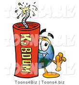 Vector Illustration of a Cartoon Globe Mascot Standing with a Lit Stick of Dynamite by Toons4Biz