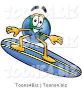Vector Illustration of a Cartoon Globe Mascot Surfing on a Blue and Yellow Surfboard by Toons4Biz