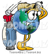 Vector Illustration of a Cartoon Globe Mascot Swinging His Golf Club While Golfing by Toons4Biz