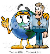 Vector Illustration of a Cartoon Globe Mascot Talking to a Business Man by Toons4Biz
