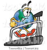 Vector Illustration of a Cartoon Globe Mascot Walking on a Treadmill in a Fitness Gym by Toons4Biz