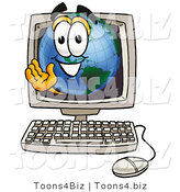 Vector Illustration of a Cartoon Globe Mascot Waving from Inside a Computer Screen by Toons4Biz