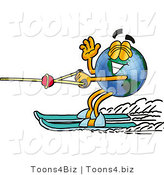 Vector Illustration of a Cartoon Globe Mascot Waving While Water Skiing by Toons4Biz