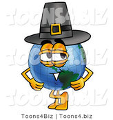 Vector Illustration of a Cartoon Globe Mascot Wearing a Pilgrim Hat on Thanksgiving by Toons4Biz