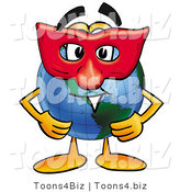 Vector Illustration of a Cartoon Globe Mascot Wearing a Red Mask over His Face by Toons4Biz