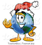 Vector Illustration of a Cartoon Globe Mascot Wearing a Santa Hat and Waving by Toons4Biz