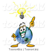Vector Illustration of a Cartoon Globe Mascot with a Bright Idea by Toons4Biz
