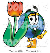 Vector Illustration of a Cartoon Globe Mascot with a Red Tulip Flower in the Spring by Toons4Biz