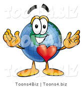 Vector Illustration of a Cartoon Globe Mascot with His Heart Beating out of His Chest by Toons4Biz