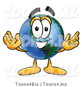 Vector Illustration of a Cartoon Globe Mascot with Welcoming Open Arms by Toons4Biz