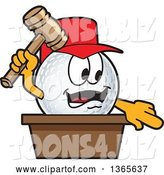 Vector Illustration of a Cartoon Golf Ball Sports Mascot Auctioneer by Toons4Biz