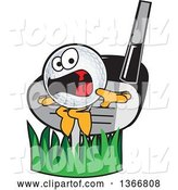 Vector Illustration of a Cartoon Golf Ball Sports Mascot Being Whacked by a Club by Toons4Biz