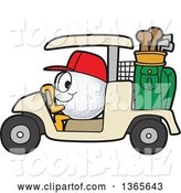 Vector Illustration of a Cartoon Golf Ball Sports Mascot Driving a Cart by Toons4Biz