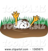 Vector Illustration of a Cartoon Golf Ball Sports Mascot Drowning in Mud by Toons4Biz