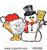 Vector Illustration of a Cartoon Golf Ball Sports Mascot Waving by a Christmas Snowman by Toons4Biz