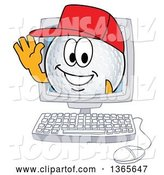 Vector Illustration of a Cartoon Golf Ball Sports Mascot Waving from a Computer Screen by Toons4Biz