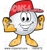 Vector Illustration of a Cartoon Golf Ball Sports Mascot Wearing a Red Hat and Flexing by Toons4Biz