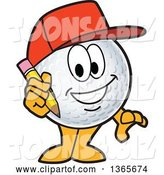 Vector Illustration of a Cartoon Golf Ball Sports Mascot Wearing a Red Hat and Holding a Pencil by Toons4Biz