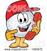 Vector Illustration of a Cartoon Golf Ball Sports Mascot Wearing a Red Hat and Holding a Telephone by Toons4Biz