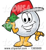 Vector Illustration of a Cartoon Golf Ball Sports Mascot Wearing a Red Hat and Holding Cash by Toons4Biz