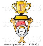 Vector Illustration of a Cartoon Golf Ball Sports Mascot Wearing a Red Hat and Holding up a First Place Trophy by Toons4Biz